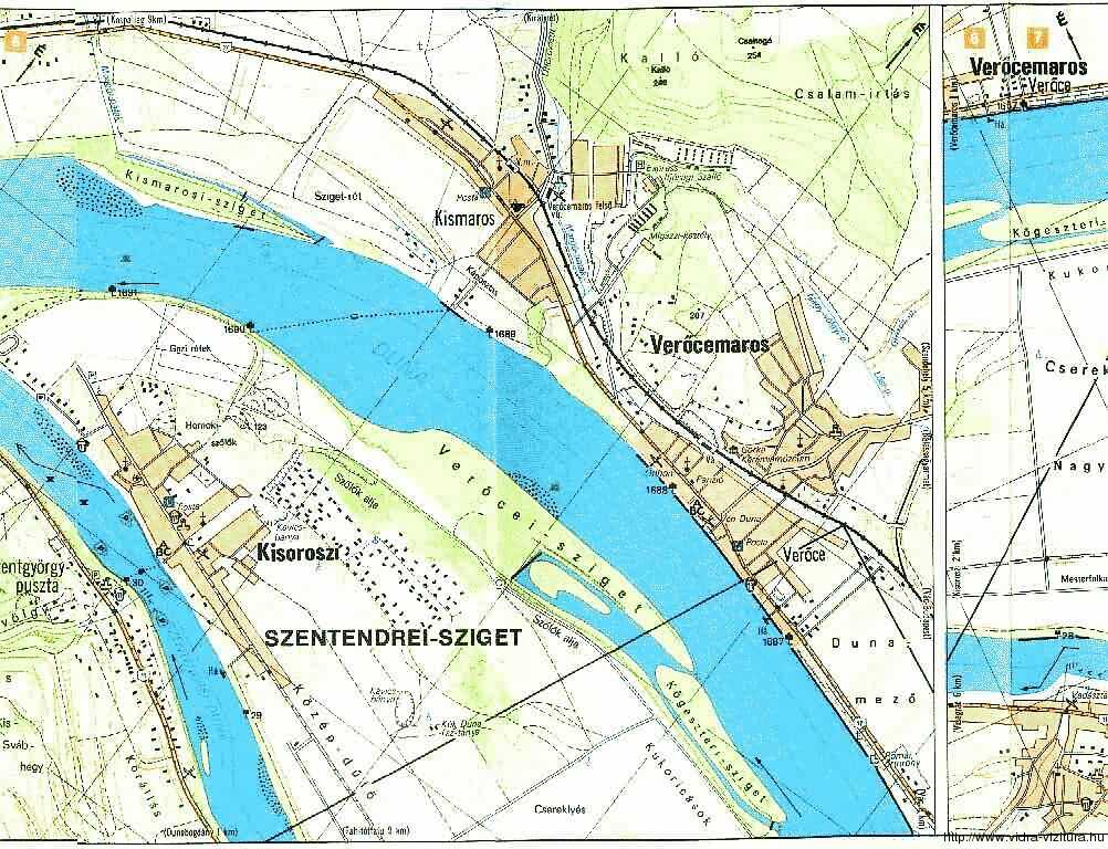 Duna folyamkilométer térkép 1688-1679 fkm